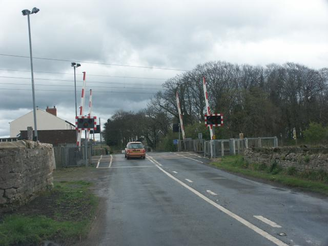 Level crossing near the village of Beal