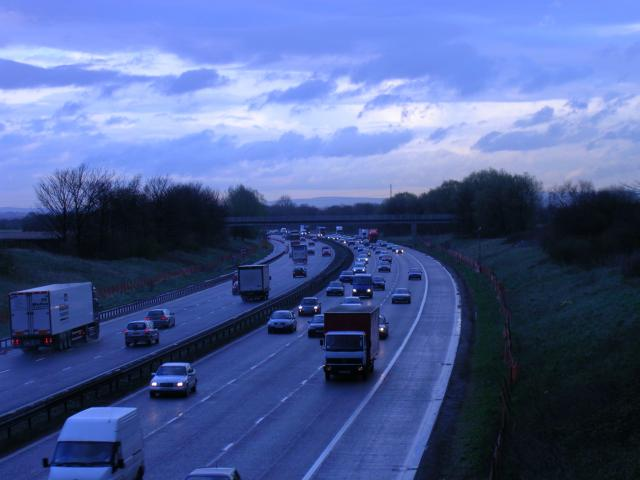 M62 , looking east. Irlam, Manchester