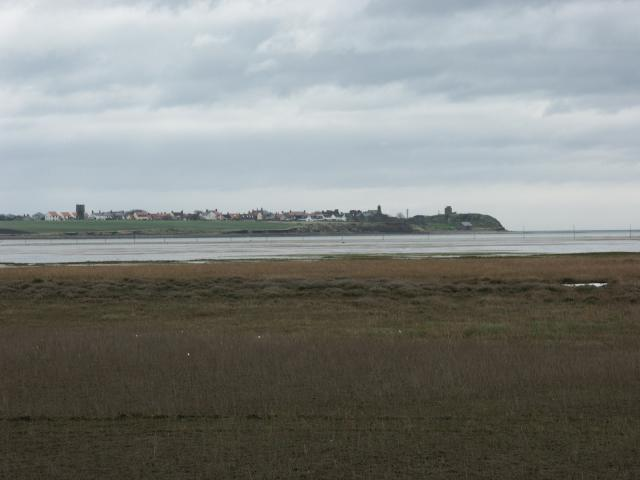 Lindisfarne viewed across the mudflats