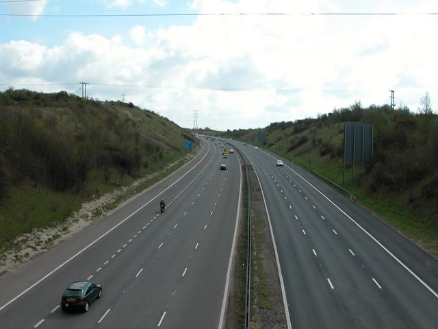 M27 running beneath Portsdown Hill
