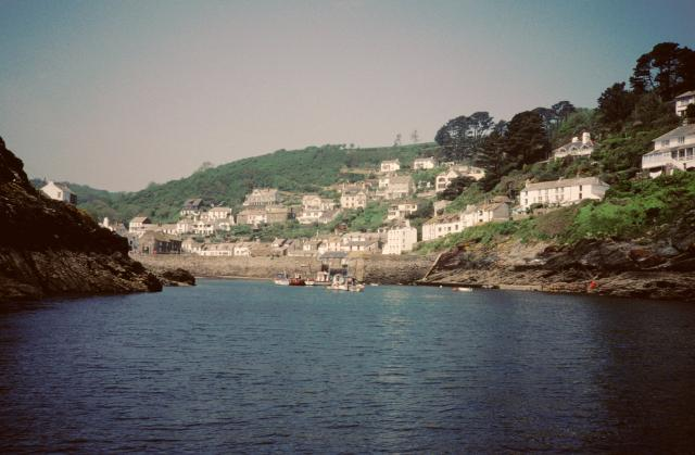 Entrance to Polperro harbour, seen from the sea.