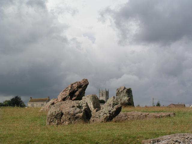 Stanton Drew church from the Stones.