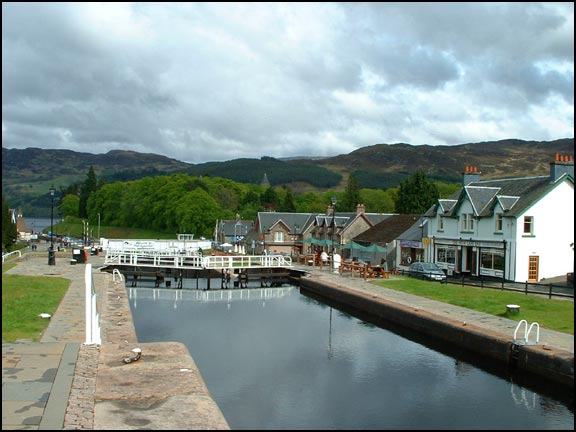 Looking down the locks at Fort Augustus