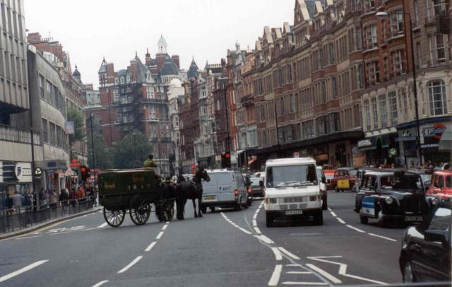 Brompton Rd, London looking north from Harrods