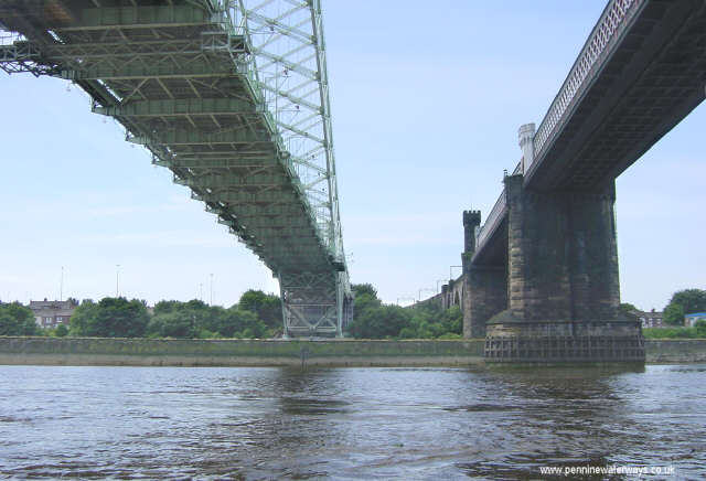 Runcorn-Widnes Bridges seen from the River Mersey