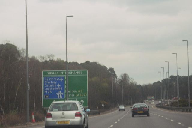 The A3 North, approaching the Wisley Interchange