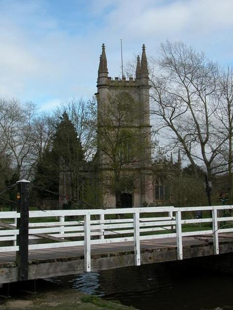St Lawrences church, Hungerford and swing bridge over the Kennet and Avon canal.