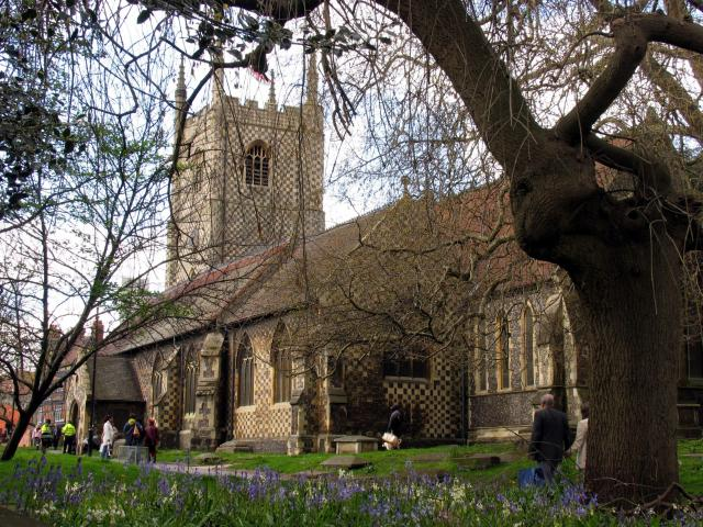 St Mary's Reading, in the spring