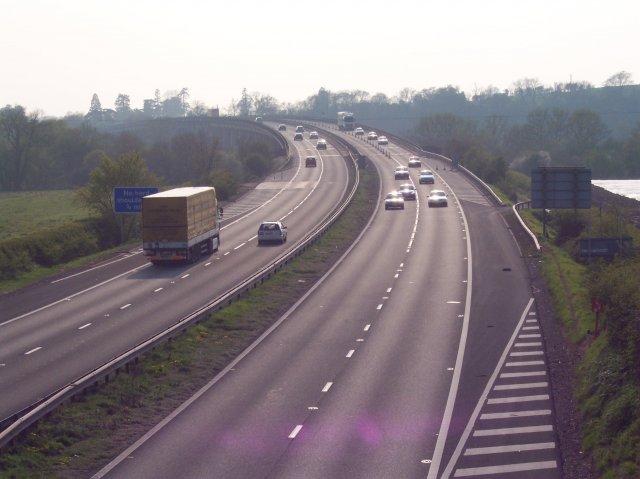 M50 heading towards the Bridge over the river Severn
