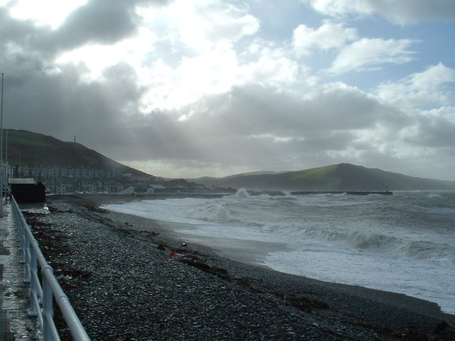Aberystwyth harbour on a stormy day