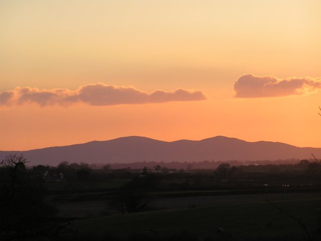 Malvern Hills at dusk.