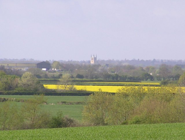 Pershore Abbey photographed from SO987528 Bishampton to Flyford road.