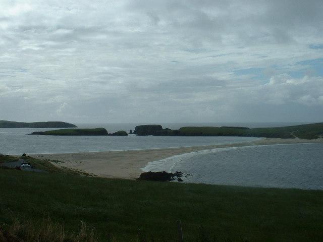 Tombolo between Mainland Shetland and St Ninian's Isle