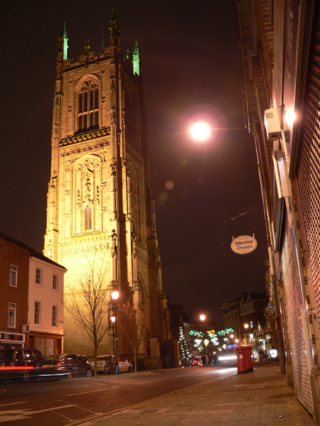 Derby Cathedral by night