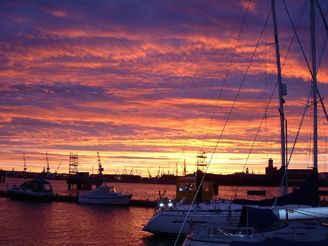 Sunrise Over Portsmouth Dockyard