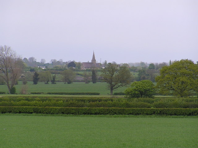 Looking across fields to Bradley Green Church.
