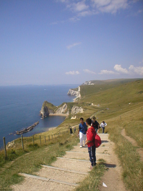 A view of Man o' War Cove and  Durdle Door