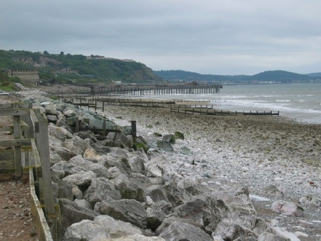 Llanddulas beach and quarry jetties