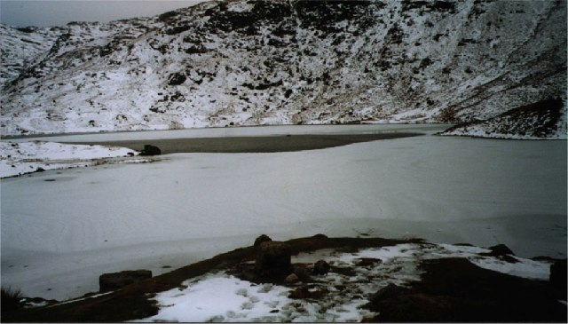 Easedale Tarn, partly frozen over