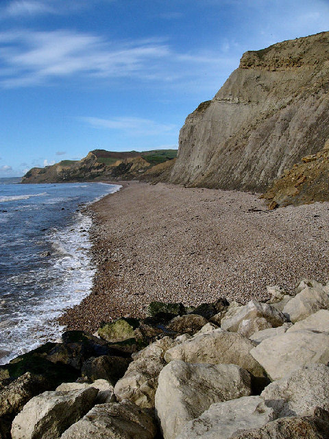 View from West Bay of the crumbling cliffs