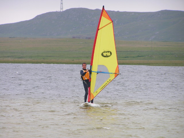 Windsurfing on Loch Bhasapoli, Tiree