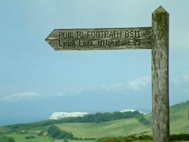 Footpath sign on Brighstone Down