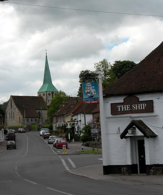 The Ship, High Street and church - South Harting.