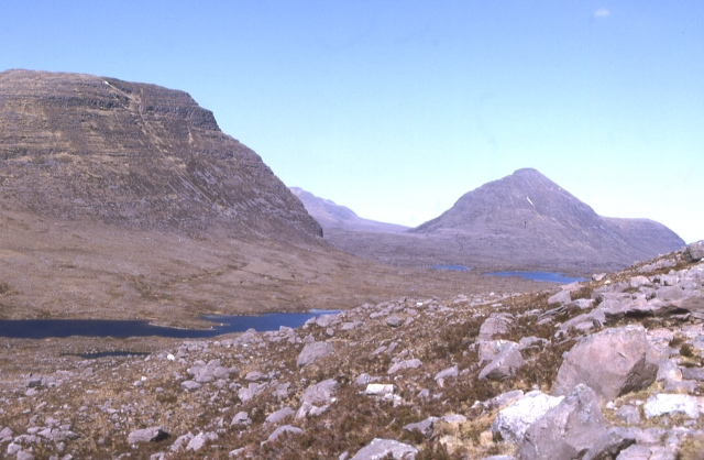 Loch nan Cabar and Carn na Feòla from the path to Coire Mhic Fhearchair