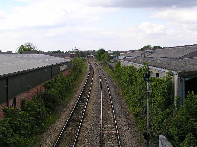 Looking NNW from bridge over Perry Wood road towards Shrub Hill Station.
