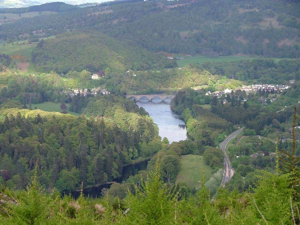 Looking from Craigvinean towards Telfords Bridge in Dunkeld
