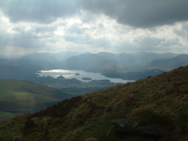 Derwentwater from Skiddaw's lower slopes