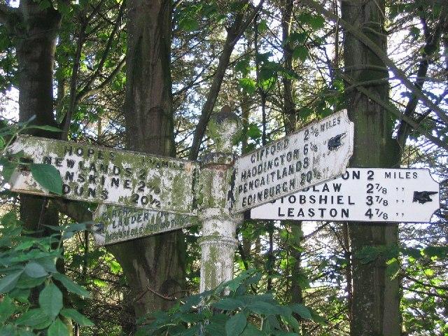 Old road sign, Longyester.