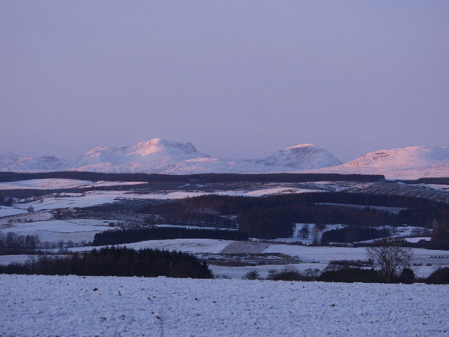 Winter view of Ben Vorlich from David Stirling statue