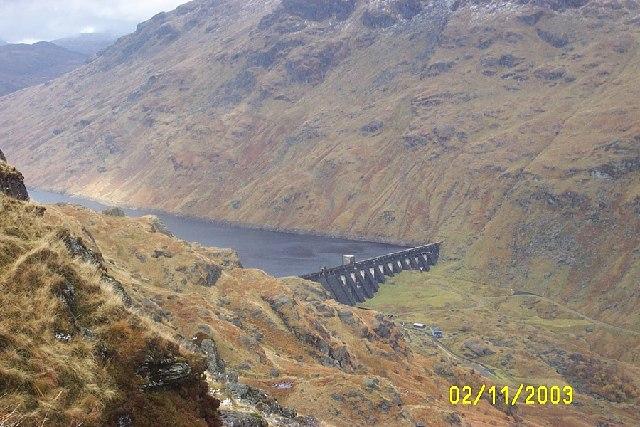 Loch Sloy Dam from slopes of Ben Vane