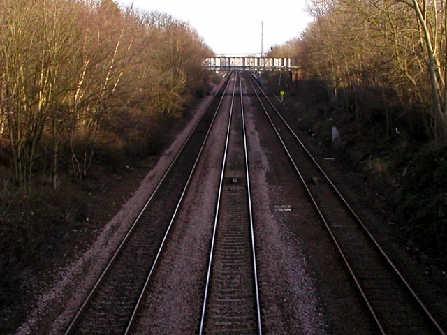 The main line into Hull from the bridge at Long Plantation near North Ferriby