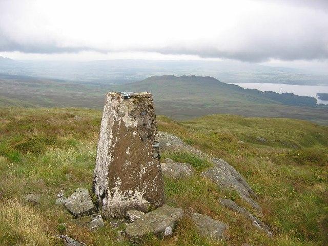 Trig point on Beinn Bhreac.