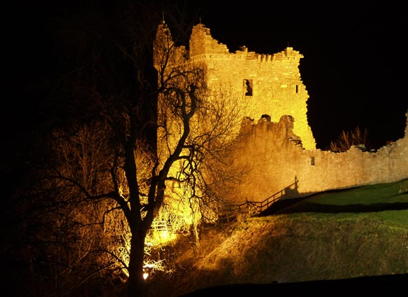Urquhart Castle at night
