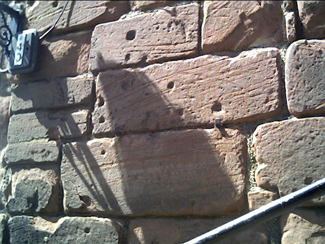 Musket Ball Marks on Bonewaldesthorne's Tower, City Walls, Chester