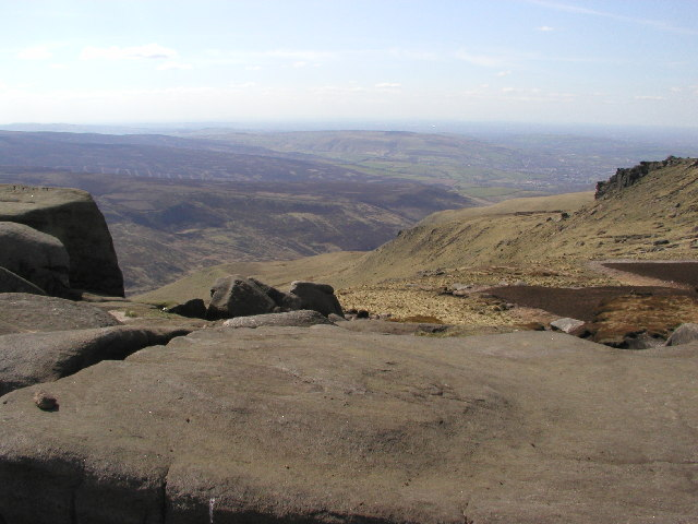 The view from Shelf Moor looking south westwards towards Glossop.