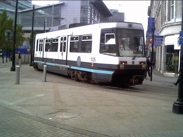 Manchester Metro tram turning a corner