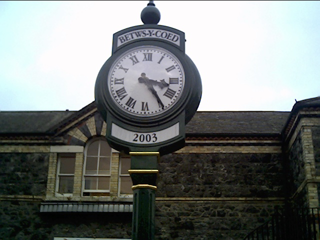 Clock outside Betws-y-coed Station