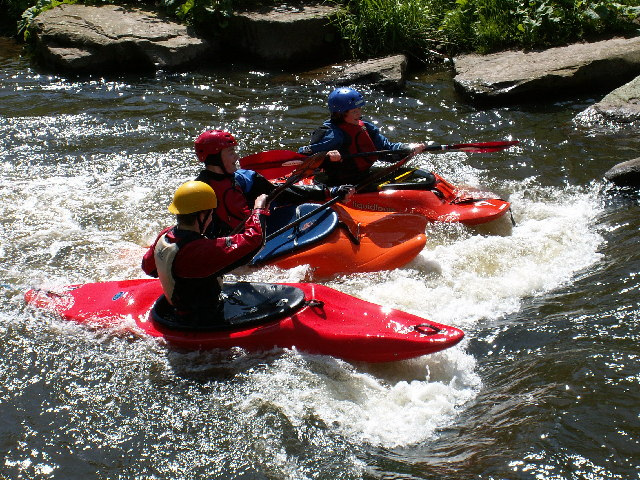 Kayakers at the Burrs Activity Centre