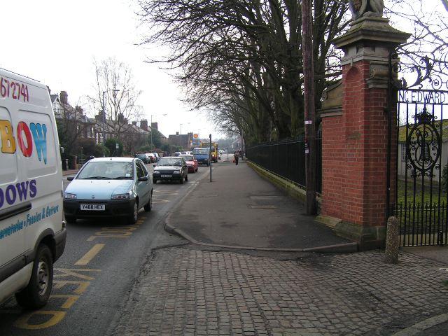 Busy road outside King Edward VII School