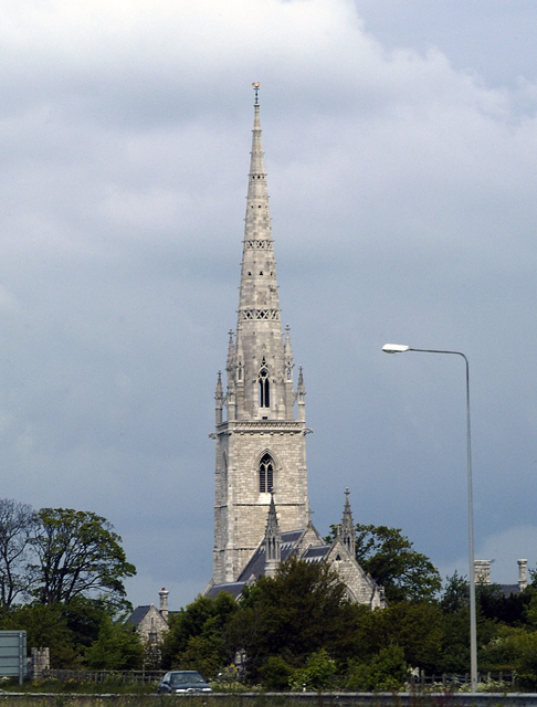 "Spire of the ""Marble Church"" at Bodelwyddan"