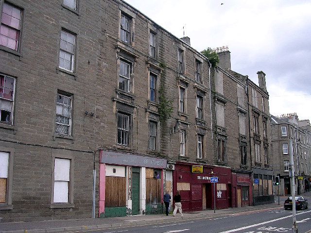 Derelict tenements and shops in Dundee's inner city