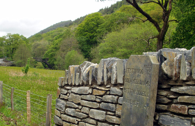Milestone just outside Betws-y-Coed