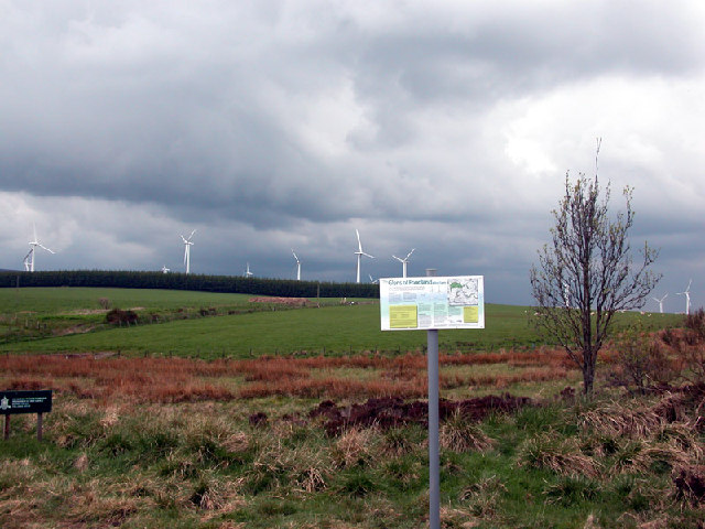 Information sign at Glens of Foudland windfarm