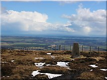 NO5373 : Trig and view on East Wirren. by Richard Webb