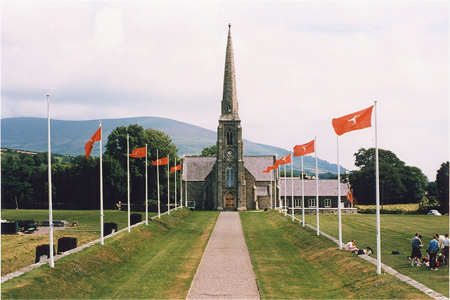 St Johns Church with IOM Flags