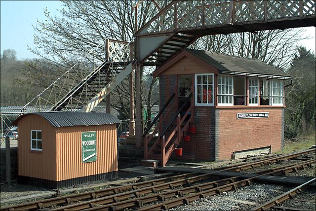 Buckfastleigh Signal box, footbridge and fog hut